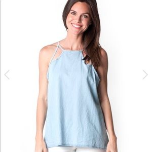 🎉❤️FLASH SALE🎉💙Chambray Selena cut out Tank Top